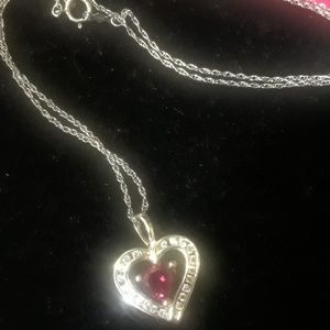 Jewelry - Lab created ruby heart necklace
